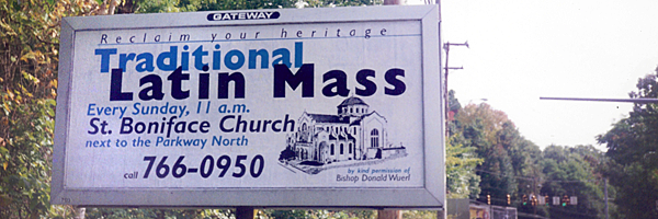 Latin Mass billboard in Pittsburgh